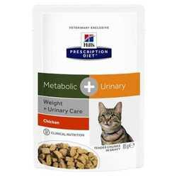 Hills Prescription Diet Feline Metabolic+Urinary паучи для кошек коррекция веса и лечение МКБ (0,085 кг) 12 шт