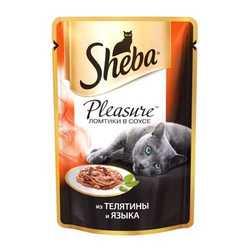 Sheba Pleasure паучи для кошек телятина с языком (0,085 кг) 24 шт