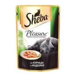 Sheba Pleasure паучи для кошек курица с индейкой 85 гр х 24 шт