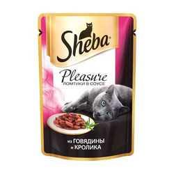 Sheba Pleasure паучи для кошек говядина с кроликом 85 гр х 24 шт