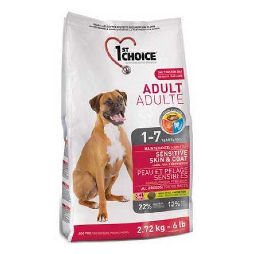 Фест Чойс сухой корм для взрослых собак с чувствительной кожей и шертью 2,72 кг