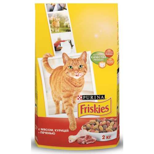 Friskies сухой корм для кошек мясо/курица/печень 2 кг