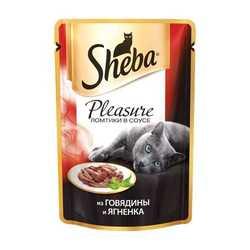 Sheba Pleasure паучи для кошек говядина с ягненком 85 гр х 24 шт