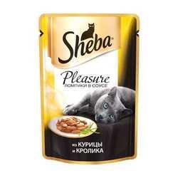 Sheba Pleasure паучи для кошек курица с кроликом 85 гр х 24 шт
