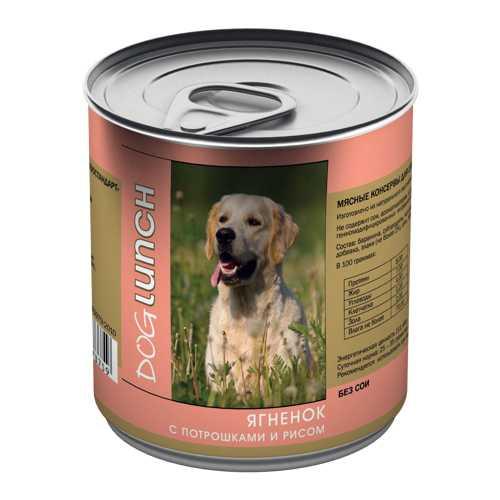 Dog Lunch консервы для собак ягненок/потрошка/рис в желе 750 гр х 12 шт