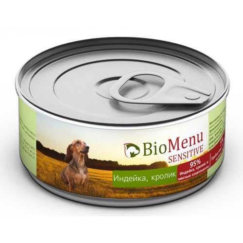 Biomenu sensitive консервы для собак с индейкой и кроликом (0,1 кг) 1 шт