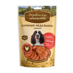 Деревенские лакомства для собак куриные медальоны 90 гр