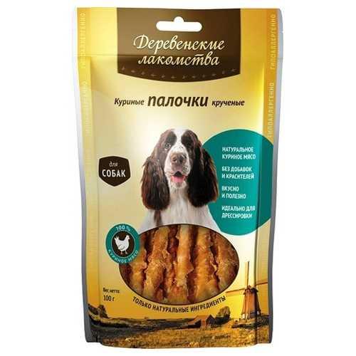 Деревенские лакомства для собак куриные палочки крученные 100 гр