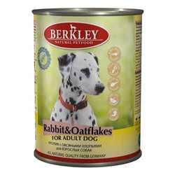 Berkley консервы для собак с кроликом и овсянкой (0,4 кг) 6 шт