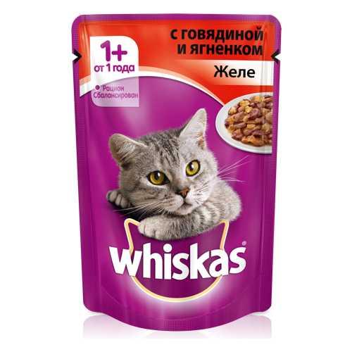Whiskas паучи для кошек желе с говядиной и ягненком (0,085 кг) 24 шт