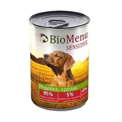 Биоменю сенситив консервы для собак с индейкой и кроликом (0,41 кг) 1 шт