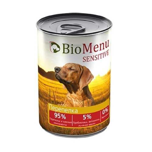 Биоменю сенситив консервы для собак с перепелкой (0,41 кг) 1 шт
