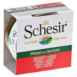 Schesir консервы для собак цыпленок с говядиной (0,15 кг) 10 шт