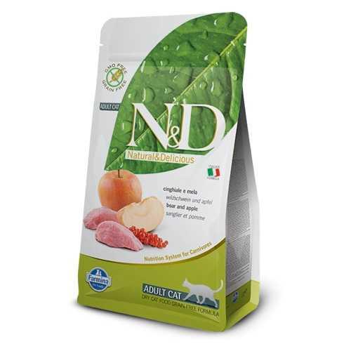 Natural & Delicious беззерновой сухой корм для кошек кабан с яблоком 1,5 кг