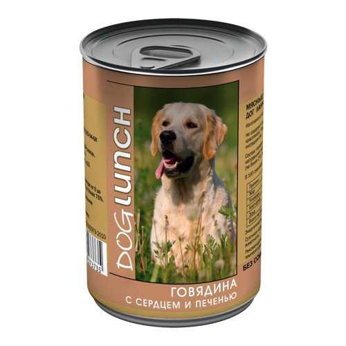 Dog Lunch консервы для собак говядина/сердце/печень в желе 410 гр х 12 шт