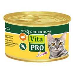 Vita Pro Luxe консервы для кошек с уткой и ягненком 85 гр х 24 шт
