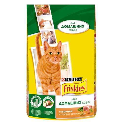Friskies сухой корм для кошек живущих в помещении курица/зелень 1,5 кг