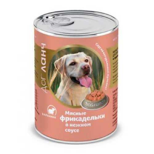 Dog Lunch консервы для собак фрикадельки в соусе с бараниной 850 гр х 6 шт