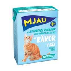 Mjau консервы для кошек кусочки креветок в соусе 370 гр