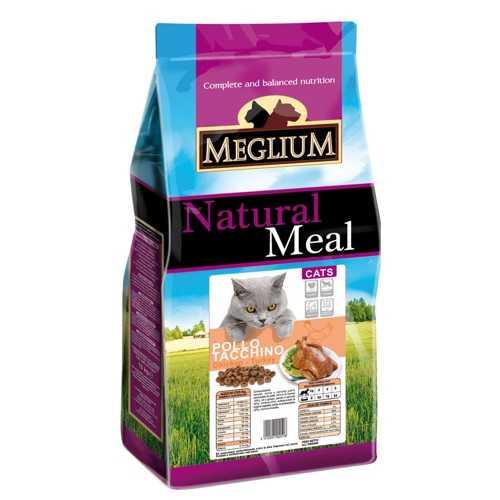 Меглиум сухой корм для кошек с курицей и индейкой 15 кг