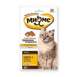 Хрустящие подушечки Мнямс для кошек здоровье и красота 60 гр