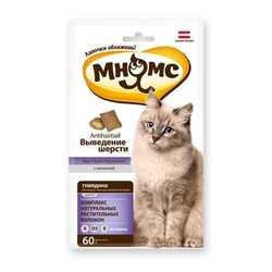 Хрустящие подушечки Мнямс для кошек выведение шерсти 60 гр