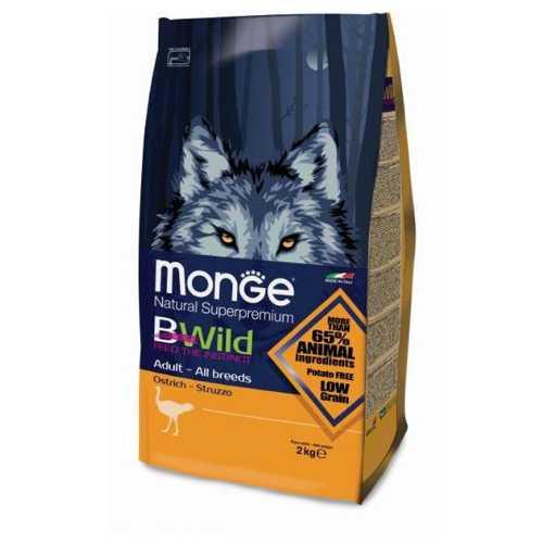 Monge Bwild Dog Osrich корм для взрослых собак всех пород с мясом страуса 2 кг
