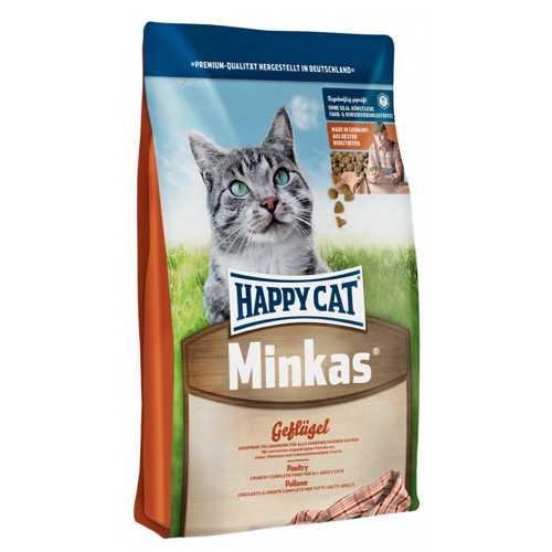 Хэппи Кет Минкас сухой корм для кошек с птицей 10 кг