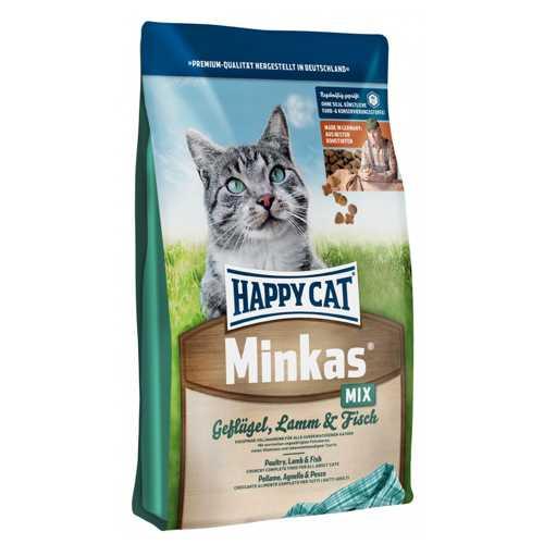 Хэппи Кет Минкас Микс сухой корм для кошек с птицей, ягненком и рыбой 4 кг