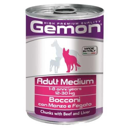 Gemon Dog Medium консервы для собак средних пород кусочки говядины с печенью (0.41 кг) 12 шт