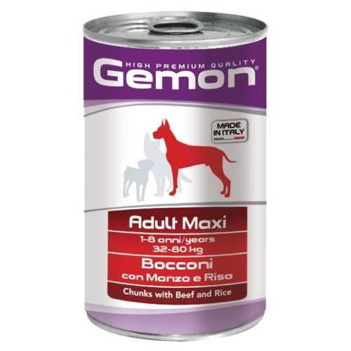 Gemon Dog Maxi консервы для собак крупных пород кусочки говядины с рисом (1.25 кг) 12 шт