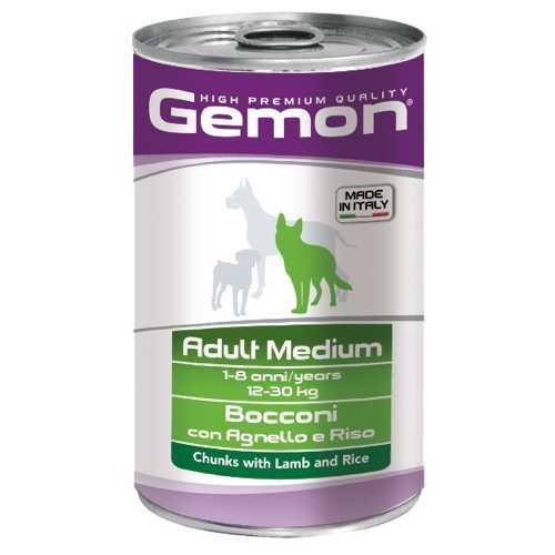 Gemon Dog Medium консервы для собак средних пород кусочки ягненка с рисом (1.25 кг) 12 шт