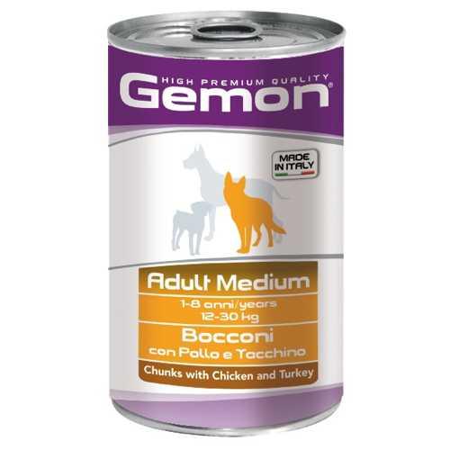 Gemon Dog Medium консервы для собак средних пород кусочки курицы с индейкой (1.25 кг) 12 шт