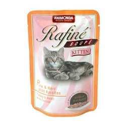 Animonda Rafiné Soupé kitten паучи для котят с индейкой, сердцем и морковью (0,10 кг) 12 шт