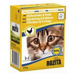 Bozita Chicken Turkey консервы для кошек курица с индейкой в соусе (0,37 кг) 1 шт