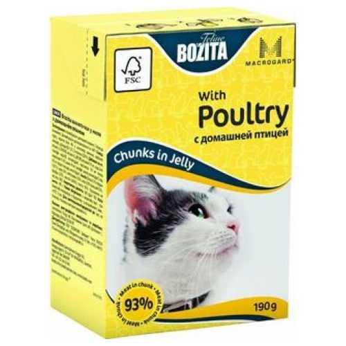 Бозита консервы для кошек с домашней птицей в желе (0,19 кг) 1 шт