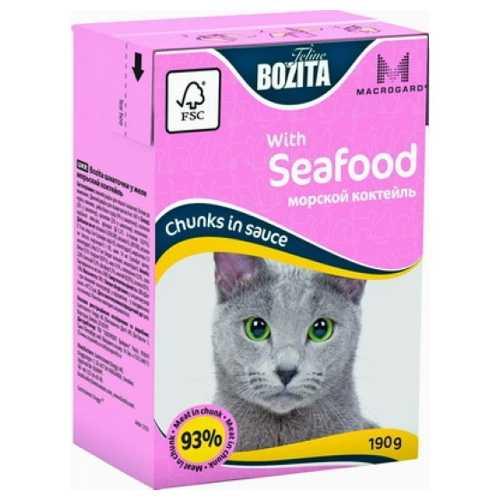 Bozita Seafood консервы для кошек морской коктейль в соусе (0,19 кг) 1 шт