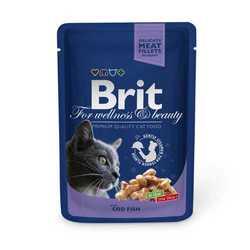 Brit Cod Fish паучи для взрослых кошек с треской (0,10 кг) 24 шт
