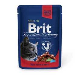 Brit Beef and Peas паучи для кошек говядина с горошком (0,10 кг) 24 шт