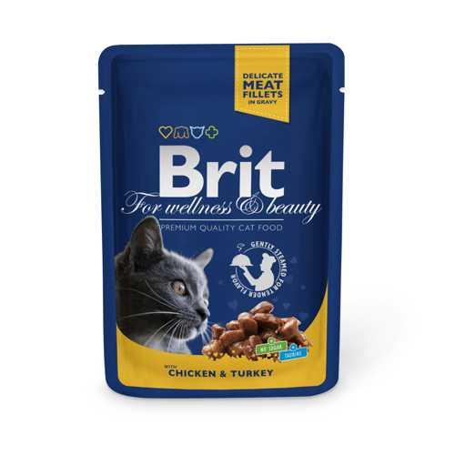 Brit Сhicken and Turkey паучи для кошек с курицей и индейкой (0,10 кг) 24 шт