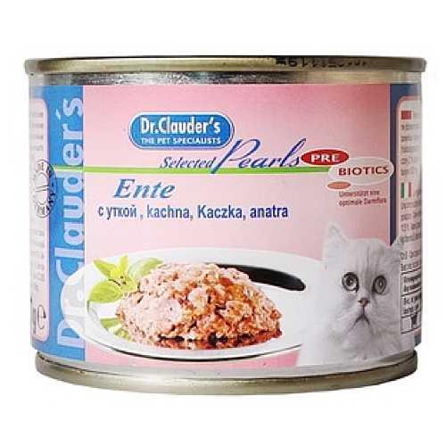Доктор Клаудер консервы для кошек с уткой (0,2 кг) 12 шт