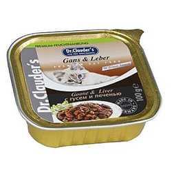 Dr Clauders консервы для кошек с гусем и печенью (0,1 кг) 32 шт