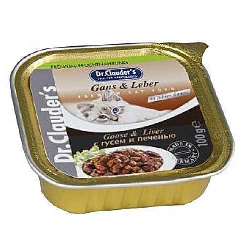 Доктор Клаудер консервы для кошек с гусем и печенью (0,1 кг) 32 шт