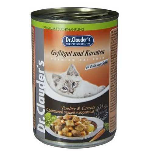 Доктор Клаудер консервы для кошек с птицей и морковью (0,41 кг) 20 шт