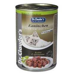 Dr Clauders консервы для кошек с кроликом (0,41 кг) 12 шт