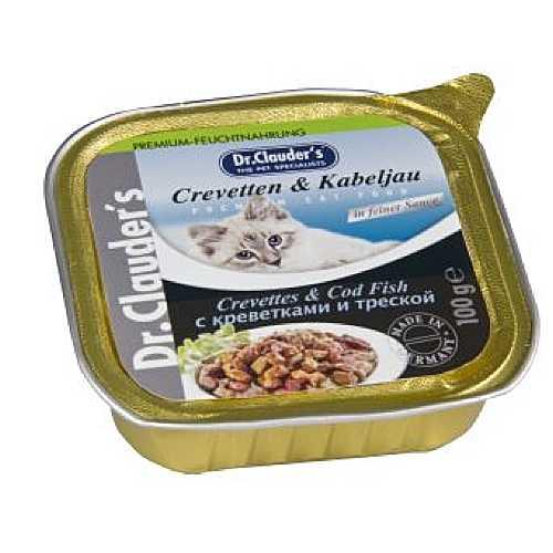 Доктор Клаудер консервы для кошек с креветками и треской (0,1 кг) 32 шт