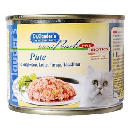 Доктор Клаудер консервы для кошек с индейкой (0,2 кг) 12 шт