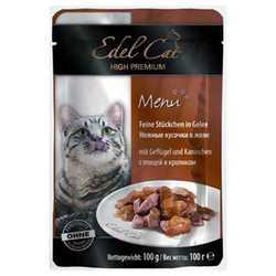 Эдель Кэт паучи для кошек c птицей и кроликом ( 0,1 кг) 20 шт