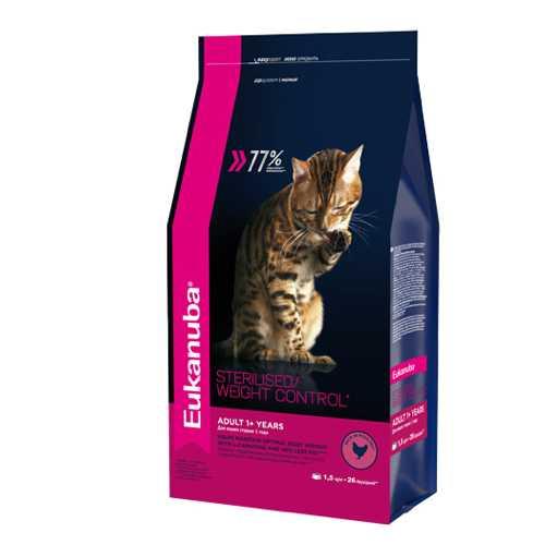 Эукануба сухой корм для кошек склонных к лишнему весу 1,5 кг