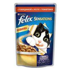 Феликс Сенсация паучи для кошек с говядиной и томатами в желе (0,085 кг) 24 шт